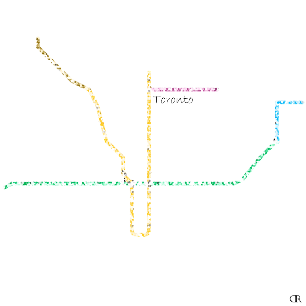 Toronto Subway Map Art by Design Reader (10x10 Inches - 4x4 Inches)